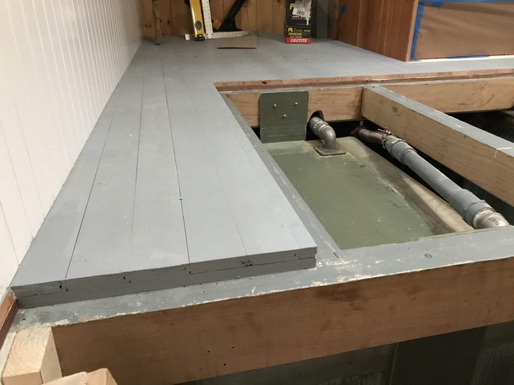 Another step closer to finished interior spaces.  The Douglas fir finished sole is being installed in the Aft Cabin this week.  The crew has been careful to build the panels in a manner that will allow for maximum access into the bilges.