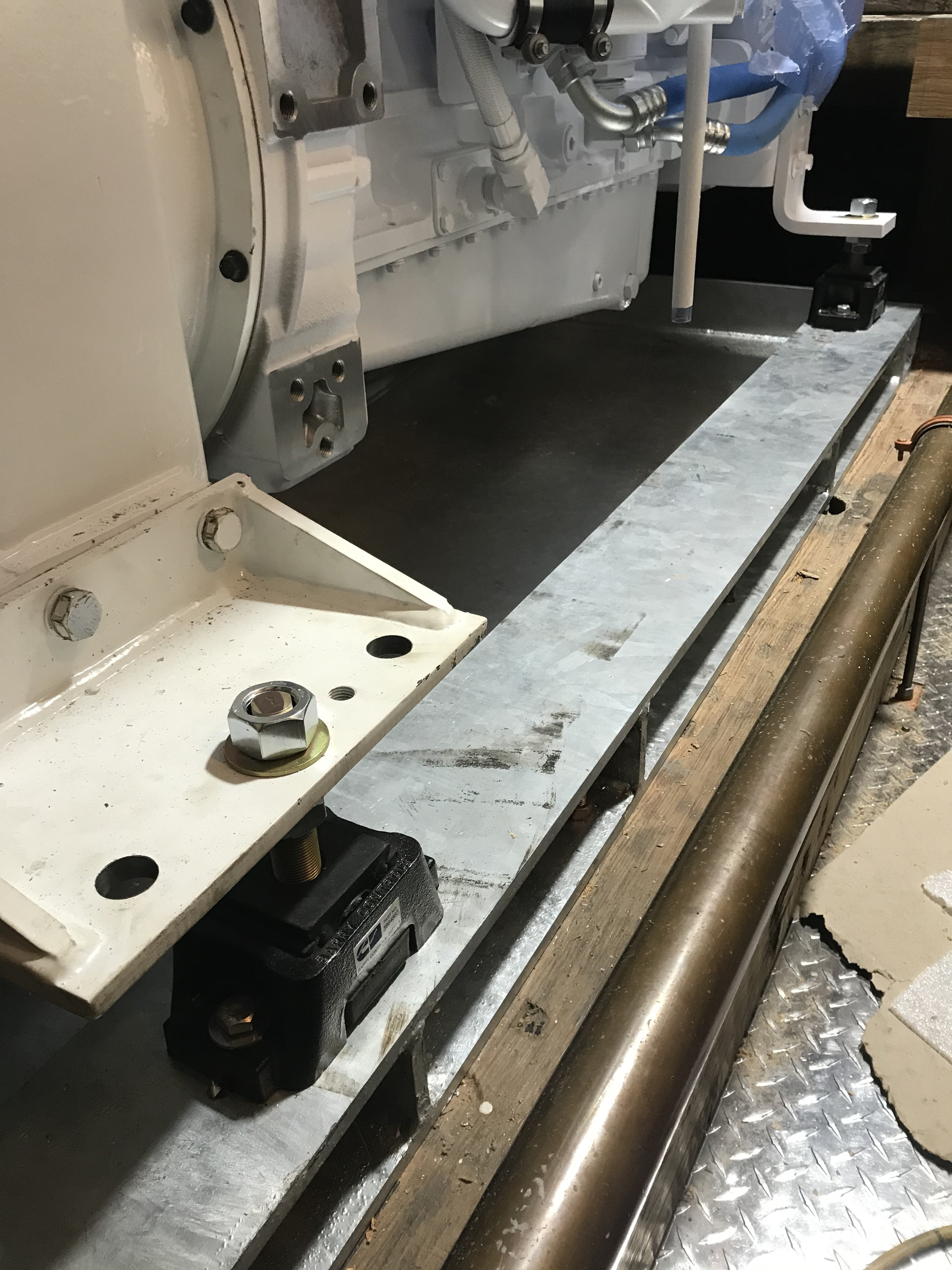 This image shows the port side detail of the custom designed engine bed that was delivered to us last week before installing the engine.  It is built with high quality steel and has been galvanized to resist corrosion.  This piece of equipment weighs more than 600lbs, and should serve its purpose well for many years into the future.