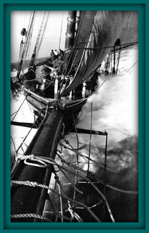 One of the photos Wallace took from the end of the bowsprit while Harry Ross stood at the end, one arm around Wallace and one hand .