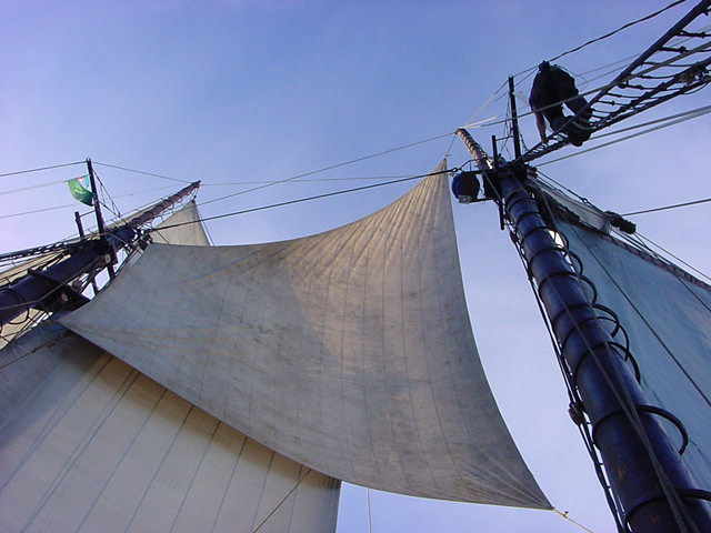 Here is the Fisherman flying during the 2001 Gloucester Schooner Race which Ernestina won!