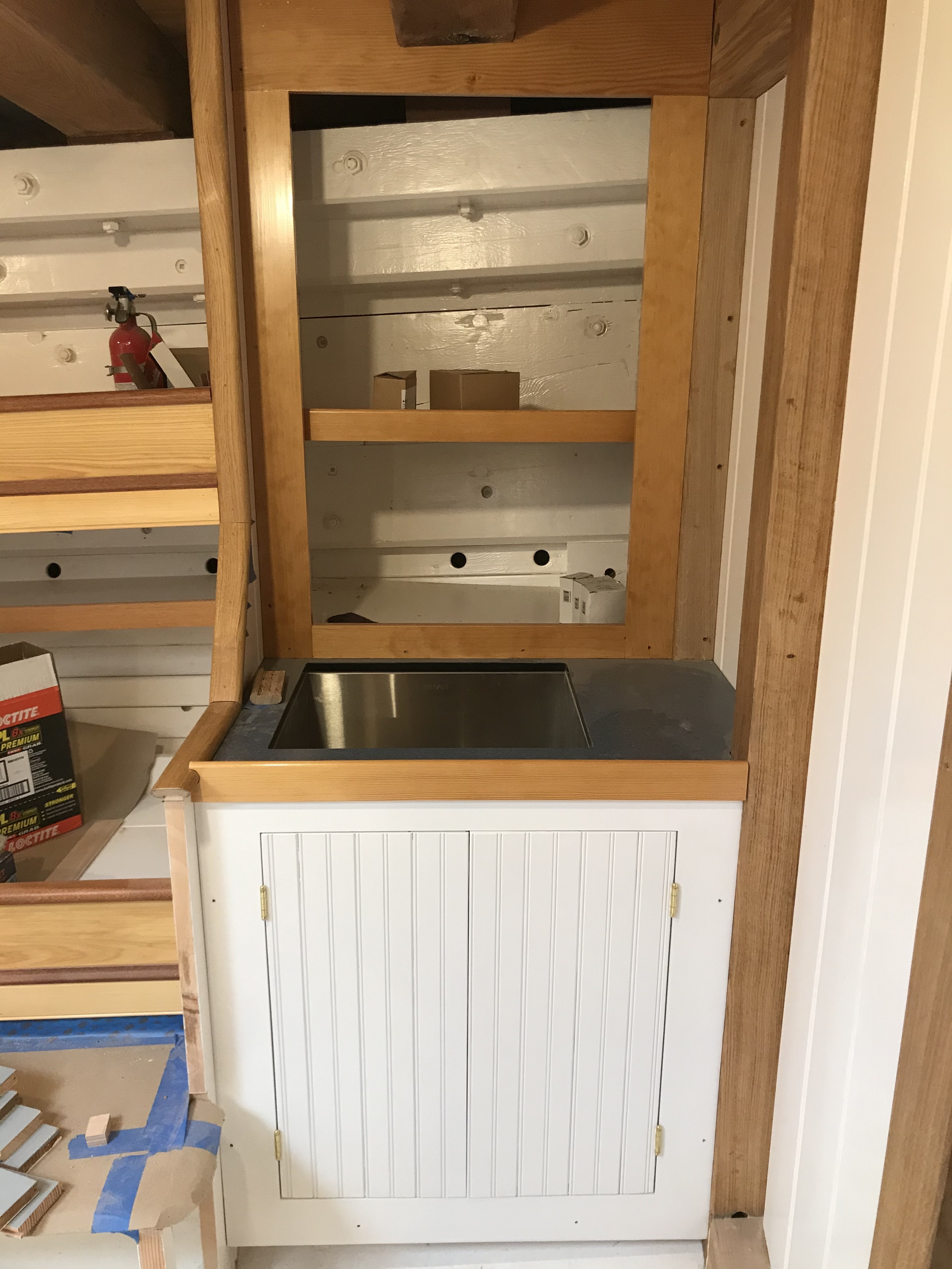 Just forward of the bunks along the port side is a utility sink and cabinet space.  Fiddles made of douglas fir and cabinetry of heartwood pine, every corner of this ship is turning out beautifully.