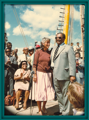 At 3pm, crew member Peggy Lyons hoisted the Stars and Stripes. The Ernestina had become American again. [She is shown in image to the right standing with Joli Gonsalves, Ernestina Commission chair]