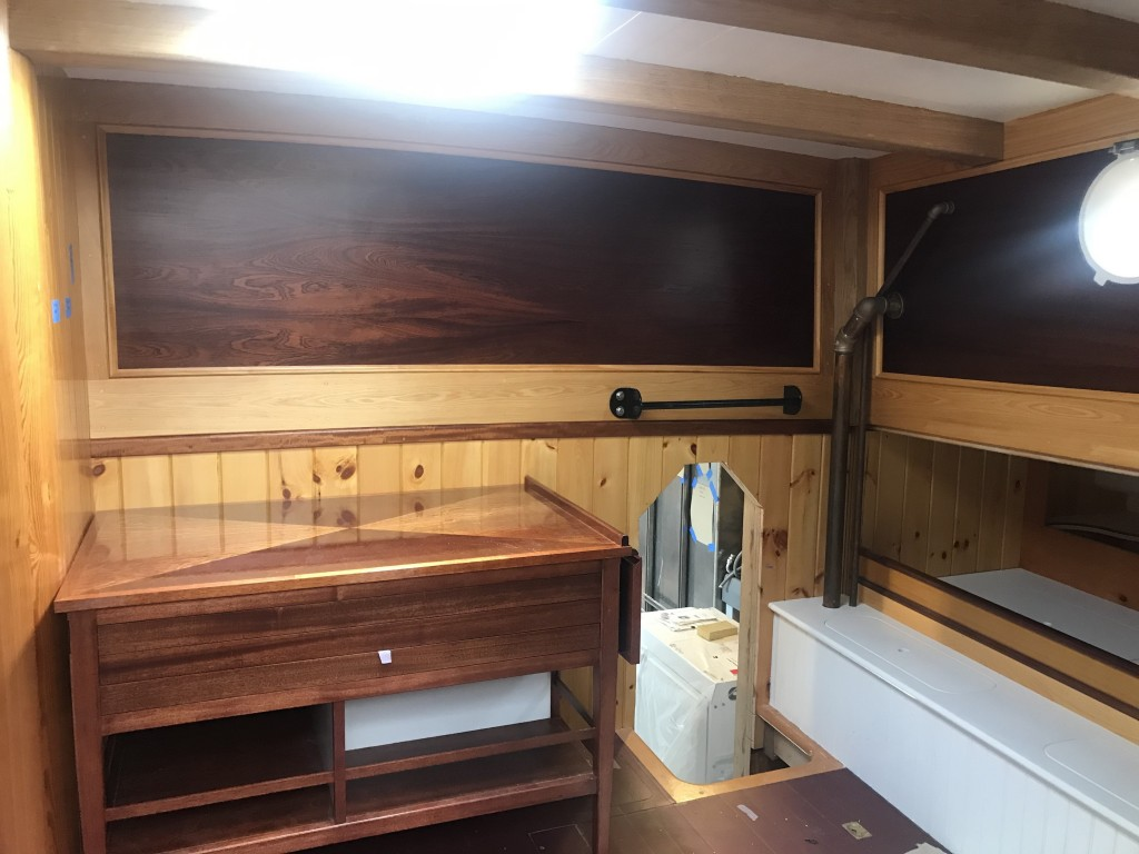 The Aft Cabin is looking terrific!  The crew have done an incredible job of building out this space to reflect the layout and spirit of her past.  Oak, Cypress, and Mahogany all complimenting each other with a bright finish!