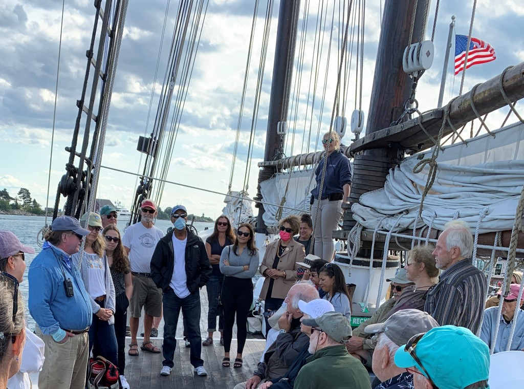 Safety talk from Adventure's crew before embarking.