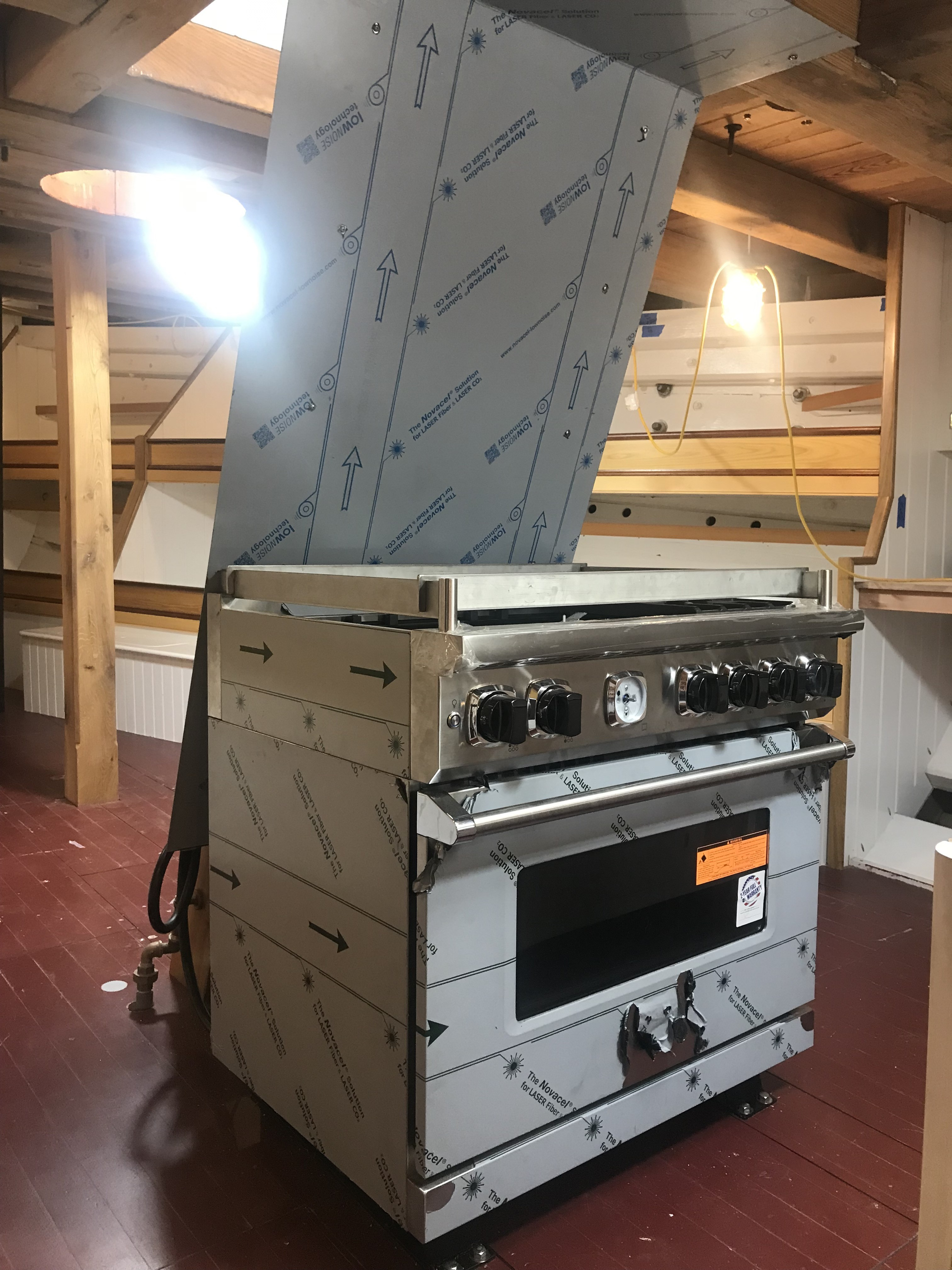 What a beautiful piece of equipment!  The Viking Series 7 Range has been installed in the Galley complete with a custom fireproof metal bulkhead to protect the forward scuttle.  We are all very impressed with how well this fits in the space.