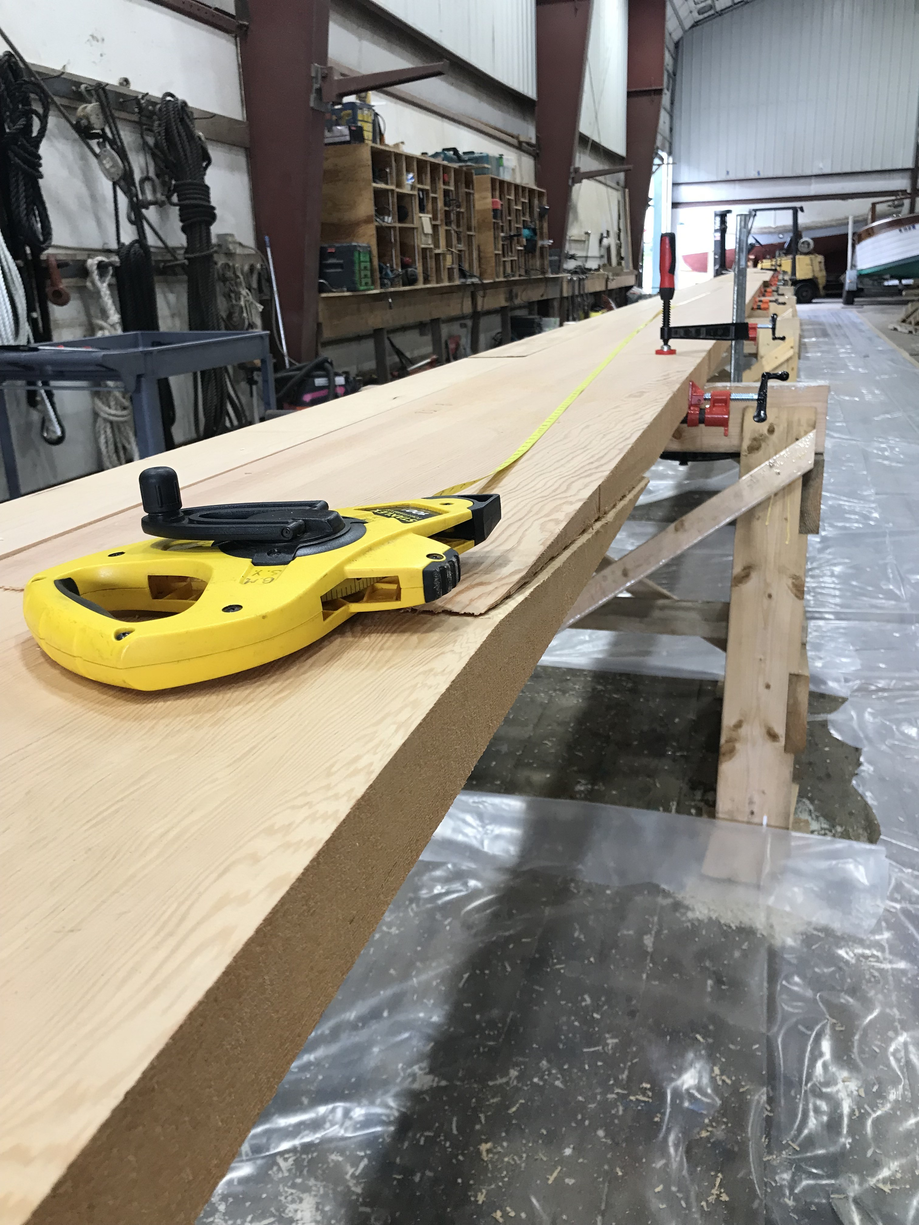 """Very soon, the first layer will be laminated to start the buildup of the Main Mast.  Multiple layers of wood will be needed to achieve the 20"""" diameter finished dimension that is required.  We are all excited to start building this monster spar!"""